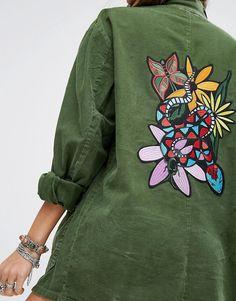 Image 2 ofMilk It Vintage Oversized Military Shirt Jacket With Jungle Snake Back Panel Embroidery
