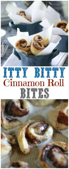 Itty Bitty Cinnamon Roll Bites! So fun and so delicious! #cinnamonrolls #mini #baking #recipe