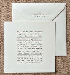 Text Block Letterpress Wedding Invitation  por chathamandcaron