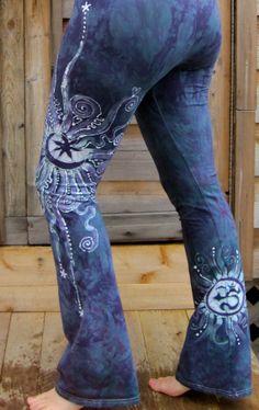 Teal and Purple Om Batik Yoga Pants – Batikwalla by Victoria Dresdner Unique Fashion, Diy Fashion, Trash To Couture, Batik Art, Batik Fashion, How To Tie Dye, Yoga For Men, Teal, Purple