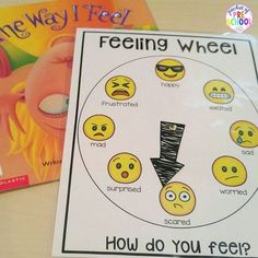 Feeling wheel to help students express and label their feelings. Perfect visual for preschool & pre-k students.