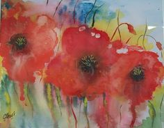 Poppies for Anzac Day. Poppies in water colour to commemorate the 100th Anniversary of the beginning of the Great War.
