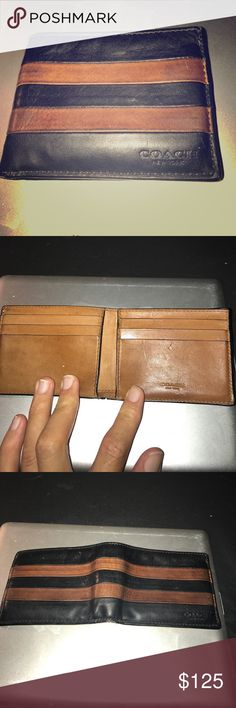 Coach BiFold Wallet Varsity Stripe Black and Brown A Smooth leather Bi Fold wallet by Coach New York, comes with 3 card slots per fold, along with another slot under the original slots, also a slot for cash. This wallet was purchased in June 2016 and has been extremely lightly used, been in actual use less than a month. I had a wallet I used before I received this as a gift, and never really used it. In perfect condition. Coach Accessories Key & Card Holders