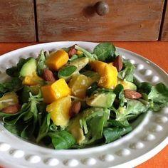 Mâché Salad with Avocado, Orange, Mango and Toasted Almonds:  A Trip to Napa Valley!  |  Mimi Avocado