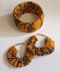 Earrings : African fabric set orange