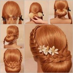 Gorgeous Fluffy Braided Bun For Long Thick Silky Hair - Hair Tutorials Evening Hairstyles, Everyday Hairstyles, Braided Bun Hairstyles, Braided Hairstyles, Hair Updo, Hairstyle Braid, Party Hairstyle, Braided Updo, Hairstyles Haircuts