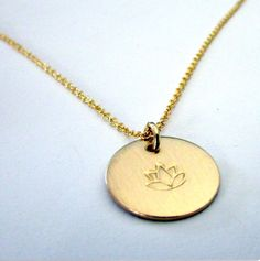 Gold Lotus Charm Necklace Gold Filled 14K GF by eriadesignsjewelry
