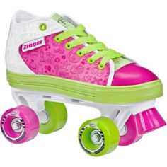 Roller Derby Zinger Kids Girls Retro Funky Pink Green Roller Skates US Size 1 | eBay