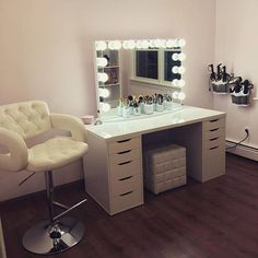 Holy glam room! ✨Who else wouldn't mind having a glam sesh with MakeupByMarieKatz using this beyond gorgeous vanity station! Featured: #ImpressionsVanityGlowPro and IKEA Alex drawers and Linnmon table top.