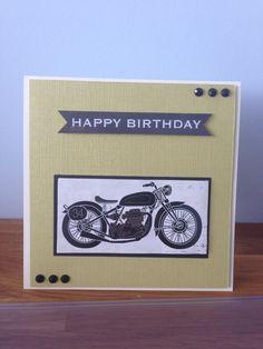 Motorbike happy birthday card green by Nicky M