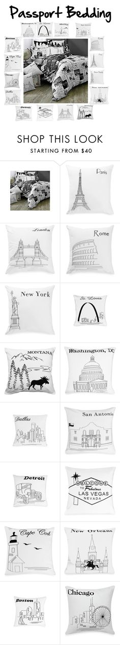 """""""Passport Bedding"""" by katiey-miclove ❤ liked on Polyvore featuring interior, interiors, interior design, home, home decor, interior decorating, bedroom, blackandwhite, room and blackandwhiteprints"""