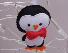 1 penguin christmas decoration, felt penguin christmas decoration, penguin christmas ornament, boy penguin