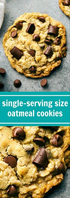 The BEST Single Serve Oatmeal Chocolate Chip Cookies. Reader said, These are the best oatmeal chocolate chip cookies I've ever had (chocolate oatmeal dessert) Oatmeal Cookie Recipes, Easy Cookie Recipes, Sweet Recipes, Snack Recipes, Dessert Recipes, Oatmeal Dessert, Yummy Recipes, Healthy Recipes, Single Serve Desserts