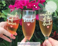 Bridal Party Champagne Glasses, Bridesmaid Glass, Bridesmaid Maid of Honor Mother of Bride Gifts, Champagne Toast, Wedding Champagne Flutes by shopInitiallyYours on Etsy https://www.etsy.com/listing/251493237/bridal-party-champagne-glasses