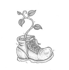 late night doodle: pflanze. #walle #plant #pflanze #illustration #dotwork #cute #boot #fame #inktober