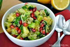 Light and fresh but oh so FILLING! Just what your body needs after heavy holiday eating! Detox Quinoa Salad from www.kissmybroccoliblog.com
