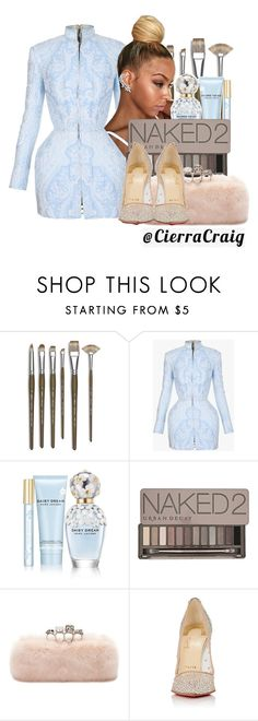 """""""Red Carpet"""" by cierracraig ❤ liked on Polyvore featuring Monza, Balmain, Marc Jacobs, Urban Decay, Alexander McQueen and Christian Louboutin"""
