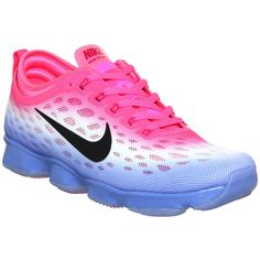 Nike Zoom Fit Agility featuring polyvore, women's fashion, shoes, athletic shoes, hers trainers, pink pow black fade, trainers, black mesh shoes, mesh shoes, breathable shoes, kohl shoes and black shoes