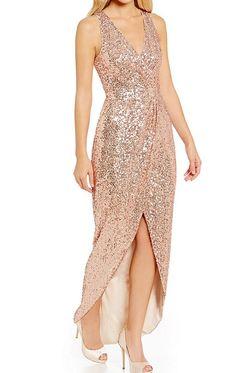 Straps v neck hi lo sequin bridesmaid dress rose gold formal Rose Gold Sequin Dress, Sequin Gown, Sequin Bridesmaid Dresses, Prom Dresses, High Low Gown, Short Sleeve Dresses, Dresses With Sleeves, Short Sleeves, Pink Cocktail Dress