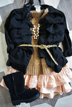 Little fashionista! Fashion Kids, Toddler Fashion, Look Fashion, Fall Fashion, Trendy Fashion, Womens Fashion, Little Girl Outfits, Little Girl Fashion, Toddler Outfits