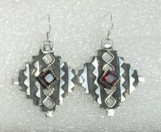 Red stone earrings, cut from silver clay sheet in Japanese origami style