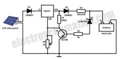 Here is a solar charger circuit that is used to charge Lead Acid or Ni-Cd batteries using the solar energy power. The circuit harvests solar energy to charge a 6 volt Ah rechargeable battery for various applications. The charger has voltage and current 12v Solar Panel, Solar Panel Charger, Solar Panel Battery, Best Solar Panels, Solar Panel System, 6 Volt Battery Charger, Reverse Parking, Electronic Circuit Projects, Electronic Schematics