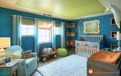 Gender neutral nursery design using saturated colors by EmbellishmentsKids.com
