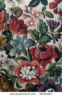 Closeup of retro tapestry fabric pattern with multi-colored floral ornament. Tapestry Fabric, Wall Tapestry, Tapestry Floral, Textures Patterns, Fabric Patterns, Decoupage, Patterned Carpet, Retro, Pattern Wallpaper