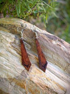 Rustic Jewelry, Wooden Jewelry, Copper Jewelry, Leather Jewelry, Handmade Jewelry, Wire Jewelry, Purple Earrings, Unique Earrings, Beautiful Earrings