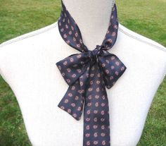Women's Vintage Navy Blue Silk Neck Tie Scarf . At AngelGrace on Etsy.