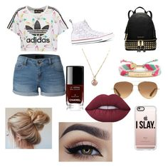 """The ""I'm Jacob Sartorius's girlfriend"" starter pack"" by agent-bb on Polyvore featuring LE3NO, adidas Originals, Converse, Stella & Dot, Casetify, Kate Spade, Lime Crime, Chanel and Michael Kors"