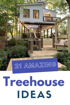 The treehouse seriously will be the favorite spot for your whole family. So, these are some of the best examples which range from simple to complex. Treehouse Ideas, Tree House Designs, Backyard For Kids, Build Your Own, Pergola, 21st, Range, Outdoor Structures, Simple
