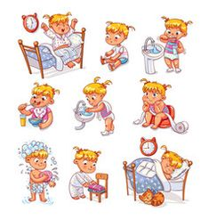 Cartoon kid daily routine activities set vector image on VectorStock Daily Routine Chart For Kids, Daily Routine Activities, Charts For Kids, Toddler Learning Activities, Funny Cartoon Characters, Cartoon Kids, Kinder Routine-chart, International Children's Day, Superhero Kids