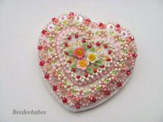 pink beaded heart pin
