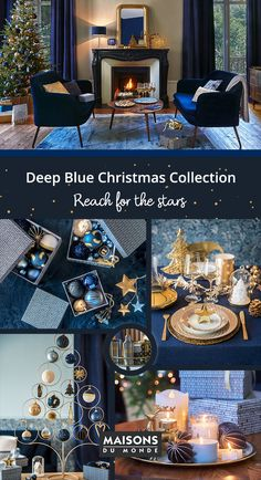 Deep Blue Christmas collection Capture the magic of Christmas with the Deep Blue collection Gold Christmas Ornaments, Blue Christmas Decor, Classic Christmas Decorations, Christmas Trends, Decorating With Christmas Lights, Christmas Night, Christmas Colors, Christmas Inspiration, Xmas Decorations