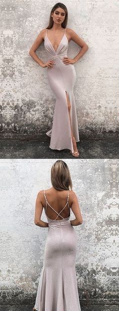 Hot Sexy Mermaid Deep V-Neck Split Front Long Prom Dress Evening Dress with Criss Cross