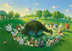 "Michael Sowa Postcarte Pupskonzert (aus ""Stinkheim am Arschberg"") Michael Sowa, Illustrator, Original Image, Images, Selection, Sauerkraut, Dragons, Painting, Artists"