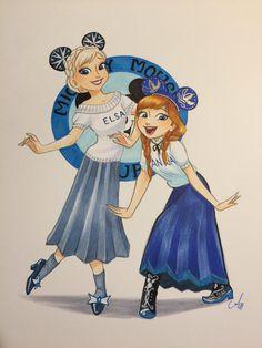 Mouseketeer Anna and Elsa Anna Disney, Disney Frozen Elsa, Disney Fan Art, Cute Disney, Disney Magic, Anna Y Elsa, Frozen Elsa And Anna, Frozen Drawings, Disney Drawings