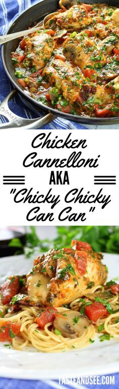 Chicken Cannelloni: unbelievably easy & delicious Italian chicken weeknight dinner.  http://tasteandsee.com