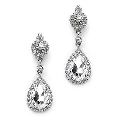 Mariell Crystal Teardrop Dangle Earrings with Silver Pave Frames  Ideal for Proms and Wedding Parties * Read more reviews of the product by visiting the link on the image.