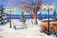 Original art Winter night contemporary wall art by spirosart  #Art #Painting #Canvas #Winter