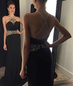 Sexy Black Prom Dress, Long Halter Prom Dress, Sexy Black Prom Dress, 2016 Prom Dress, Custom Prom Dress, Gorgeous Prom Dress, CM876