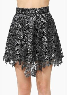 Silver lace skirt