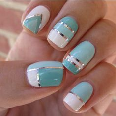 Summer Nail Art Mint Chrome