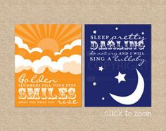 """These colorful, lyric prints will get you to singing every time you see them. Add a touch of color and art to your nursery or room with one of our favorite classic Beatles quotes. These typography art prints have been custom colored in just about every shade, and look beautiful each time. They feature the lyrics: """"Golden slumbers fill your eyes, smiles awake you when you rise, sleep pretty darling do not cry, and I will sing a lullaby"""" - The Beatles, Abbey Road Album (correct lyrics from…"""