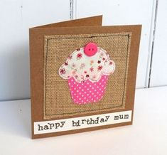 Hand stitched fabric birthday cupcake card | fabric stitched cupcake for a birthday | mixed cottons | Can be personalised https://www.etsy.com/uk/listing/249773005/hand-stitched-fabric-birthday-cupcake?ref=shop_home_active_6