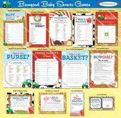 Barnyard Baby Shower Games  Printable Farm Animal by thepartystork