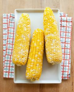 The EASIEST way to cook corn on the cob! Wrap ears of corn individually in wax paper (butter of margarine spread optional) and microwave for approx 2-3 min per ear of corn. PERFECT! Works every time!