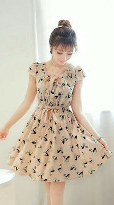 Trendy Ideas For Style Girl Fashion Sweets Lovely Dresses, Stylish Dresses, Vintage Dresses, Casual Dresses, Short Dresses, Girls Dresses, Chiffon Dresses, Casual Outfits, Girls Fashion Clothes