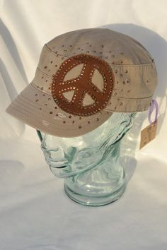 Distressed Khaki Military Cap with Brown Distressed Peace Sign Patch adorned with Copper Crystal Swarovski Elements